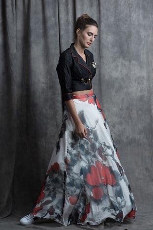 Sneh Nandu, Black Jacket Crop With Red Flower Printed Skirt