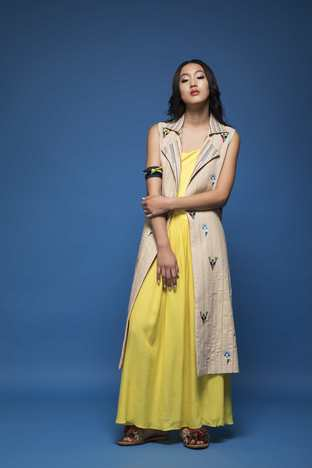 Chandni Sahi, Yellow Maxi Dress & Sand Brown Jacket