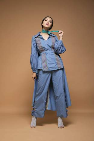 Chandni Sahi, Powder Blue Cape Shirt With Ruched Pants