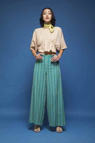 Chandni Sahi, Ruched Crop Top & Pallazos