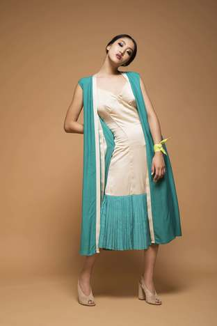 Chandni Sahi, Sand Brown Slip Dress With A Throw On