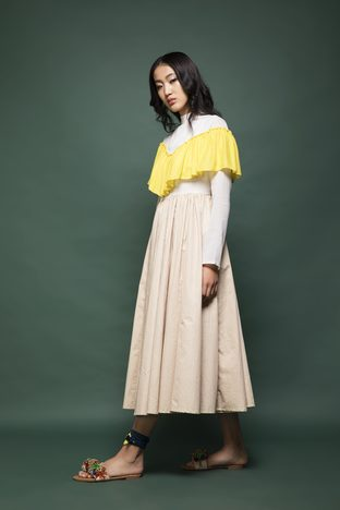 Chandni Sahi, Sand Brown , Off-White And Yellow Midi Ruffle Dress