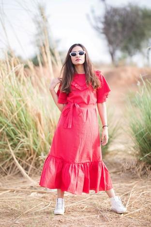 Gulaal Creations, Red 'Tulip' Dress