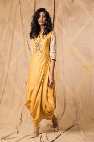 Anjali Jani, Mustard draped dress