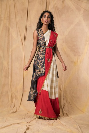 Anjali Jani, Red & ivory striped and solid saree with blouse