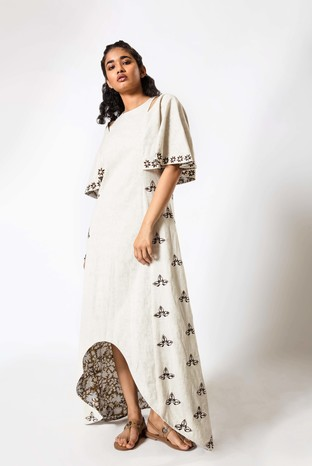 Akashi, Embroidered Shoulder cut out High Low Dress