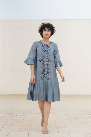 Kanelle, Pleated Bottom Dress With Applique Details