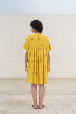 Kanelle, Midi Dress With Circle Embroidery