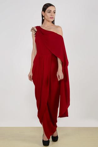 Aakaar, Metallic Fringe Drape Dress