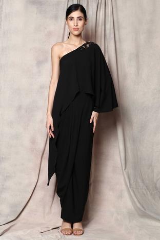 Aakaar, Black One Shoulder Drape Dress