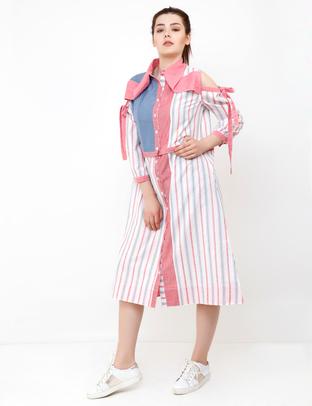S & V, White-Pink Unique Shirt Dress