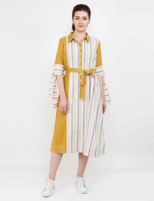 S & V, Yellow Off-White Tie-Up    Long Dress