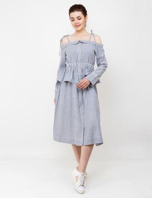 S & V, Grey-White Flare Off Shoulder Dress