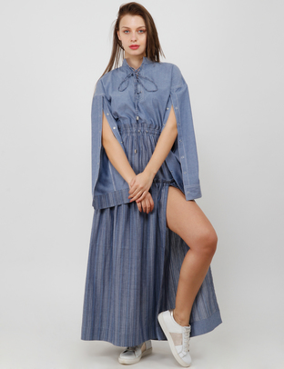 S & V, Blue-Grey Sleeve Opening Detail Thigh Cut Long Dress