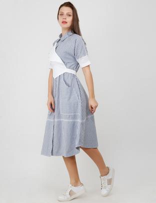 S & V, Grey-White Schiffili Layer Shirt Dress
