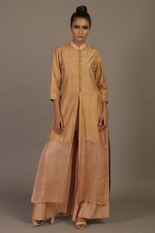 Priyam Narayan Designs's, Silk Dupion Kurta with Chanderi Palazzos
