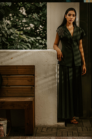 Label Sheena Singh, Green  Blazer With Long Pleated Palazzo Pants.