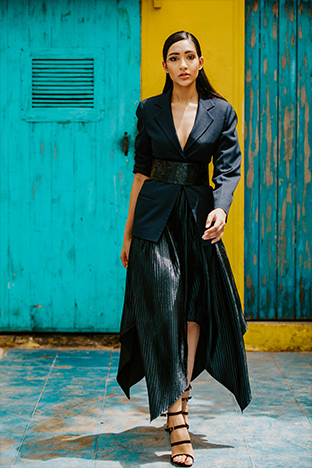 Label Sheena Singh,   Blue Asymmetric Skirt With Asymmetric Hem With Blazer And Belt