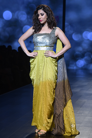 Abstract By Megha Jain Madaan, Saree Gown With Dupatta