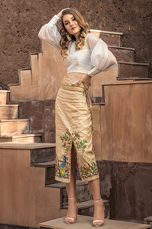 Hasrat E Sassy, Hand Painted Pencil Skirt And Top