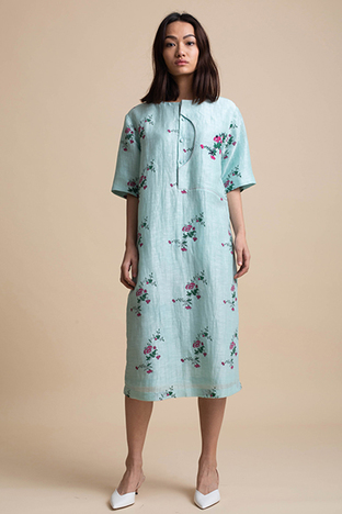 Kanelle, Shift Dress with Embroidery Panel