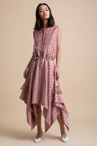 Kanelle, Handkerchief Drape Dress