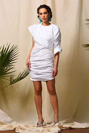 Echo, White Ruched Dress