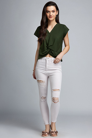 ShopElla, Olive Crop T-Shirt With Front Waist Knot Detail