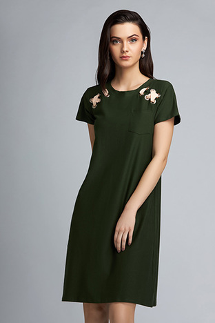 ShopElla, Olive Dress With Rivets And Beige Tie Up Detail