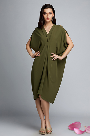 ShopElla, Olive Cowl Dress With Pearl Belt Detail