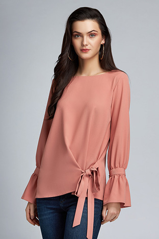 ShopElla, Old Rose Top With Side Tie Up And Brooch Sleeve Detail