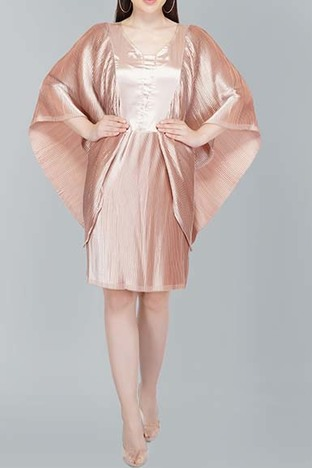Attic Salt, Flutter Sleeve Pleated Beige Satin Dress