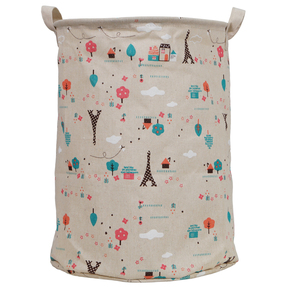 Story@Home European Round Shape Foldable Open Fabric Laundry Bag with Carry Handle, Beige