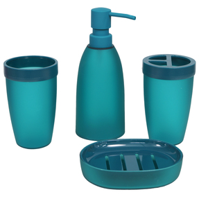 Story@Home Premium 4 Piece Plastic Bathroom Accessory Set, Dark Turquoise