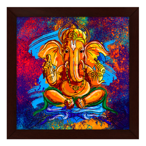 Story@Home Artistically Designed 'Ganesha' Framed Wall Art Painting (Wood, 30 cm x 3 cm x 30 cm)