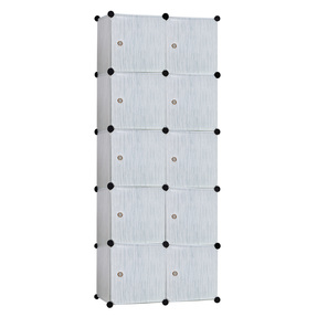 Story@Home Fancy Portable Plastic Foldable Closet with Shelves, Marble White